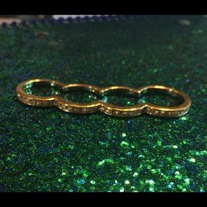 *UNIQUE* 4-finger connected ring goldtone